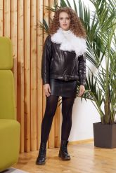 Утепленная кожаная куртка с мехом. Фото 2.
