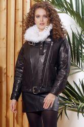 Утепленная кожаная куртка с мехом. Фото 3.