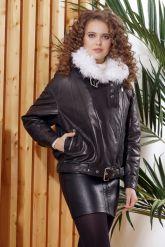 Утепленная кожаная куртка с мехом. Фото 6.