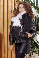 Утепленная кожаная куртка с мехом. Фото 7.