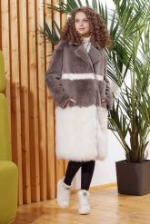 Итальянское пальто из овчины и ламы PUNTO. Фото 2.