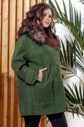Женская дубленка зеленого цвета с воротником из меха лисы. Фото 6.