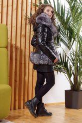 Молодежный кожаный пуховик с чернобуркой. Фото 1.