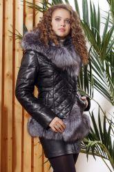 Молодежный кожаный пуховик с чернобуркой. Фото 6.