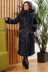 Зимняя женская дубленка с мехом тоскана. Фото 3.