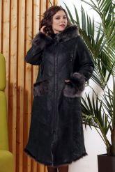 Зимняя женская дубленка с мехом тоскана. Фото 5.