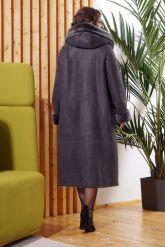 Длинная женская дубленка серого цвета больших размеров. Фото 1.