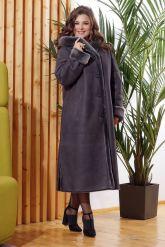 Длинная женская дубленка серого цвета больших размеров. Фото 2.