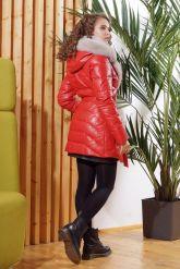 Кожаный пуховик красного цвета. Фото 1.