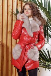 Кожаный пуховик красного цвета. Фото 3.