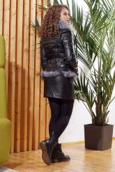 Зимняя кожаная куртка с мехом чернобурки. Фото 1.