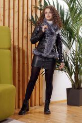 Зимняя кожаная куртка с мехом чернобурки. Фото 3.