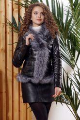 Зимняя кожаная куртка с мехом чернобурки. Фото 5.