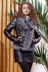 Зимняя кожаная куртка с мехом чернобурки. Фото 6.