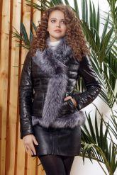 Зимняя кожаная куртка с мехом чернобурки. Фото 7.