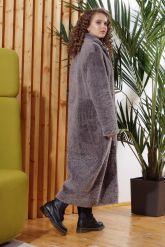 Нежное длинное пальто из овчины. Фото 1.