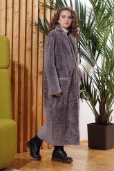 Нежное длинное пальто из овчины. Фото 3.