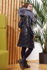 Красивый кожаный пуховик темно-синего цвета. Фото 1.