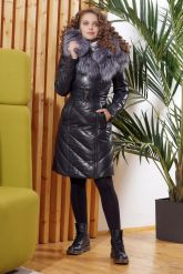 Красивый кожаный пуховик темно-синего цвета. Фото 3.