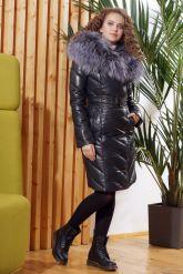 Красивый кожаный пуховик темно-синего цвета. Фото 4.