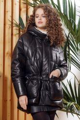 Зимняя кожаная куртка  с капюшоном. Фото 3.