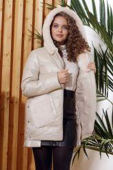 Зимняя кожаная куртка  с капюшоном цвета слоновой кости. Фото 2.