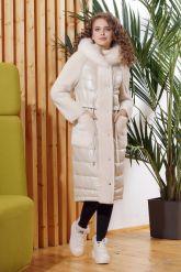 Зимнее комбинированное кожаное пальто. Фото 2.