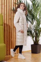 Зимнее комбинированное кожаное пальто. Фото 3.