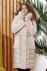 Зимнее комбинированное кожаное пальто. Фото 6.