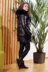 Стильный кожаный пуховик с мехом барашка. Фото 1.