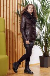 Укороченная женская куртка с мехом тоскана. Фото 2.
