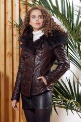 Укороченная женская куртка с мехом тоскана. Фото 5.