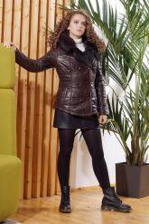 Укороченная женская куртка с мехом тоскана. Фото 7.