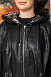 Стильный кожаный плащ с капюшоном. Фото 3.