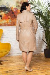 Хит Двубортный женский кожаный плащ. Фото 1.