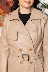 Хит Двубортный женский кожаный плащ. Фото 2.