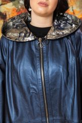 Женский кожаный плащ больших размеров со съемным капюшоном. Фото 2.