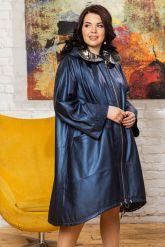 Женский кожаный плащ больших размеров со съемным капюшоном. Фото 4.