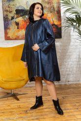 Женский кожаный плащ больших размеров со съемным капюшоном. Фото 5.