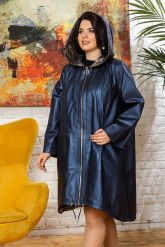 Женский кожаный плащ больших размеров со съемным капюшоном. Фото 6.
