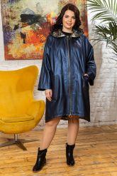 Женский кожаный плащ больших размеров со съемным капюшоном. Фото 9.