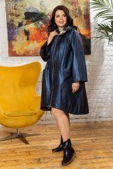 Женский кожаный плащ больших размеров со съемным капюшоном. Фото 10.