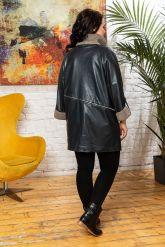 Женский кожаный плащ c трикотажной отделкой. Фото 1.