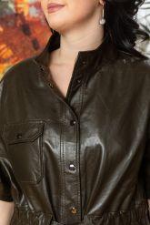 Весенняя кожаная куртка в стиле сафари. Фото 2.