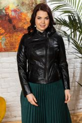 Комбинированная кожаная куртка женская. Фото 3.