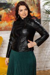 Комбинированная кожаная куртка женская. Фото 5.