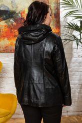 Женская кожаная куртка с капюшоном. Фото 1.