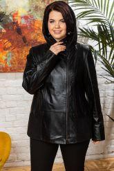 Женская кожаная куртка с капюшоном. Фото 4.