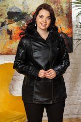 Женская кожаная куртка с капюшоном. Фото 6.