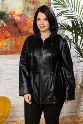 Женская кожаная куртка с капюшоном на кулиске. Фото 3.